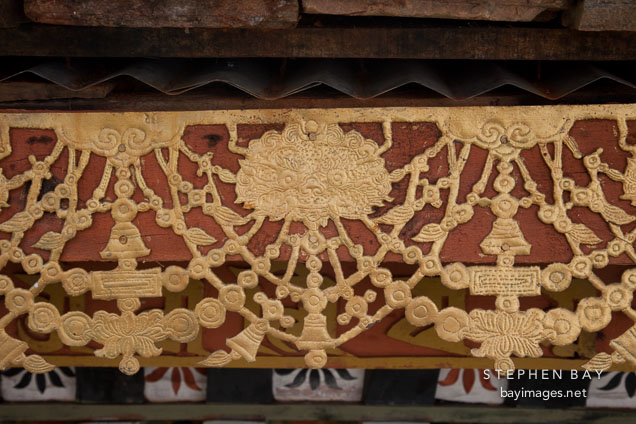 Detail of the gilding on one of the 108 chorten. Dochu La, Bhutan.