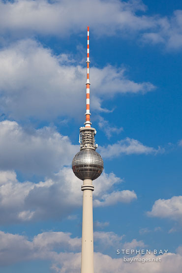 Fernsehturm, a television tower, in the center of Berlin, Germany.