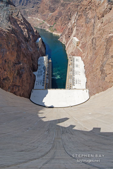 View from atop the Hoover Dam. Nevada and Arizona, USA.