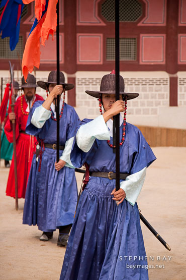 Changing of the guard at Gyeongbok Palace in Seoul, South Korea.