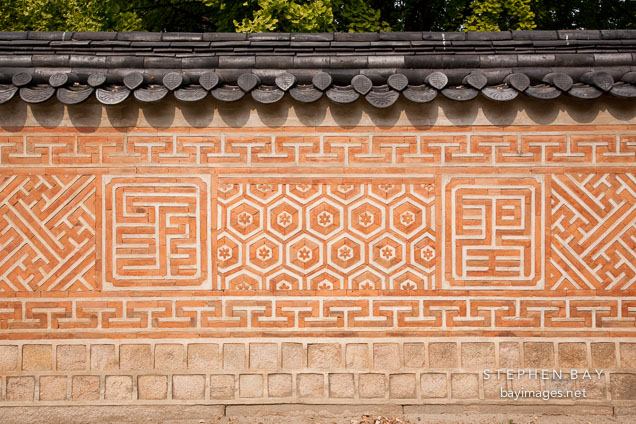 Wall at Jagyeongjeon in Gyeongbokgung Palace. Seoul, South Korea.
