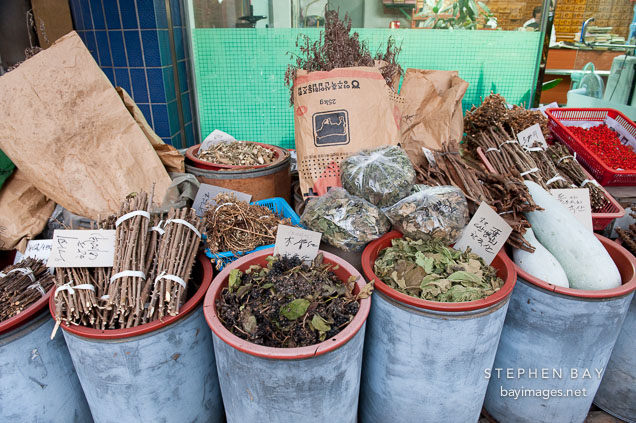 Herbs for sale at Gyeongdong Herbal Medicine market in Seoul, South Korea.