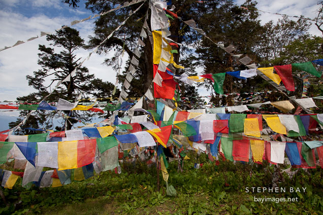 Prayer flags at Druk Wangyal Chorten. Dochula pass, Bhutan.