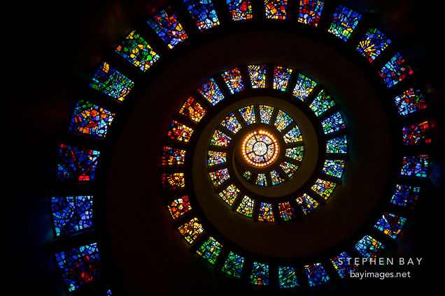 Spiral stained glass in the Thanksgiving Square Chapel. Dallas, Texas.