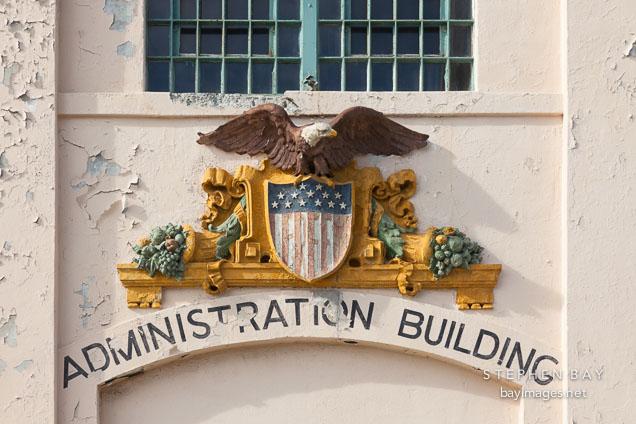 Eagle symbol on the Administration building. Alcatraz island, California.