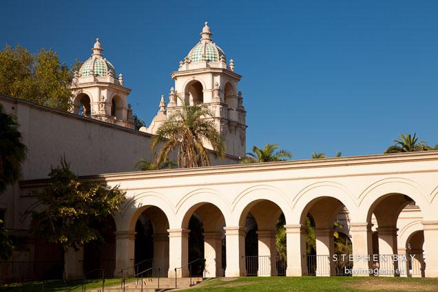 Arched walkway and Casa del Prado. Balboa Park, San Diego.