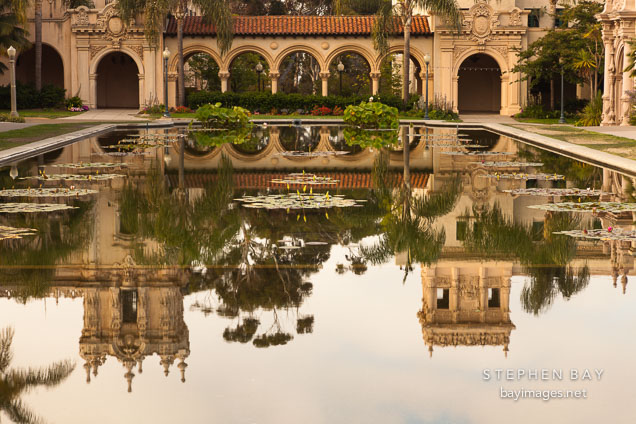Pool and colonnade. Balboa Park, San Diego.