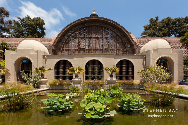 Pool in front of Botanical Building. Balboa Park, San Diego.