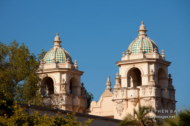 Twin domes of the Casa del Prado. Balboa Park, San Diego.