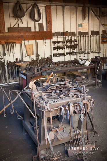 Tools in the blacksmith shop. Heritage Park, San Diego.