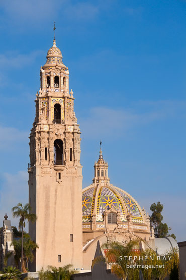 California Tower and dome. Balboa Park, San Diego.