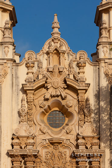 Detail of the Casa del Prado facade. Balboa Park, San Diego.