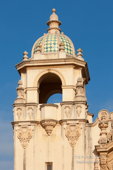 Tower and dome of Casa del Prado. Balboa Park, San Diego.