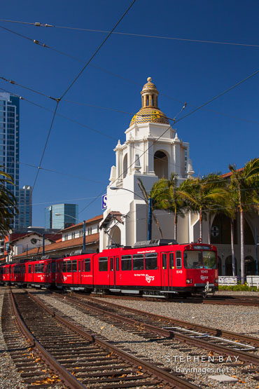 Trolley and Santa Fe Depot. San Diego.