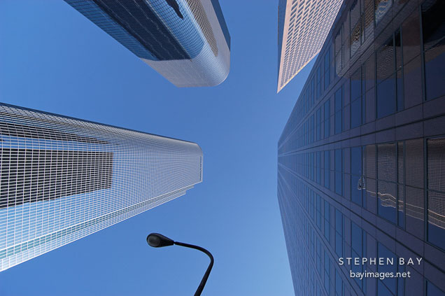 Looking straight up at downtown skyscrapers. Los Angeles, California, USA.