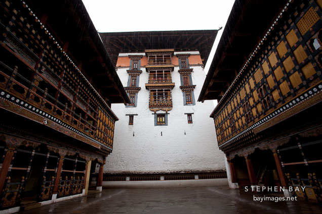 Tower and courtyard in Rinpung Dzong. Paro, Bhutan.