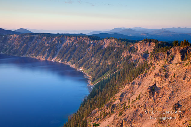 Crater lake rim at sunrise. Oregon.