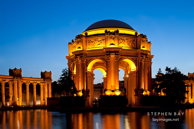 Evening at the Palace of Fine Arts. San Francisco, California.