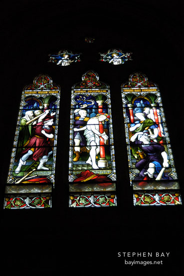 Stained glass at St. Mary's Cathedral. Sydney, Australia.