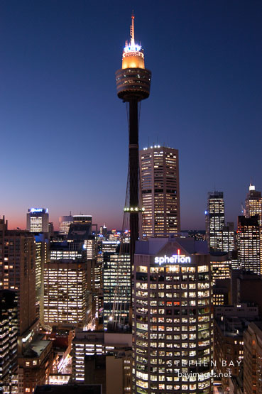 Photo: Sydney Tower (AMP Tower) at night. Sydney, Australia.