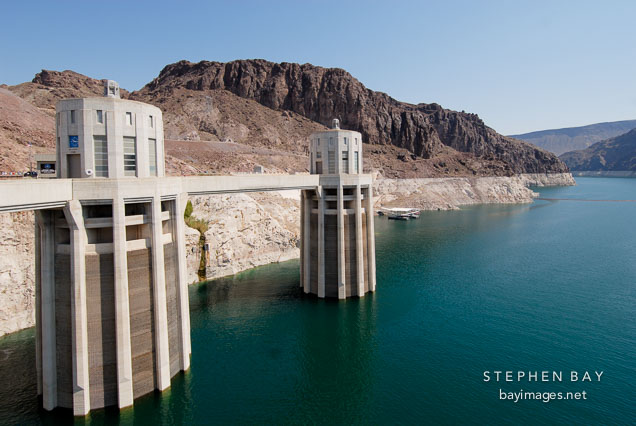 Intake towers and Lake Mead. Hoover Dam, Nevada and Arizona, USA.