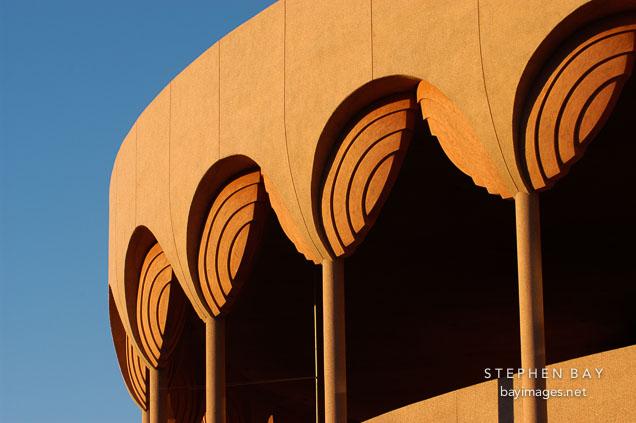 Close-up of columns of the Grady Gammage Memorial Auditorium. Tempe, Arizona.