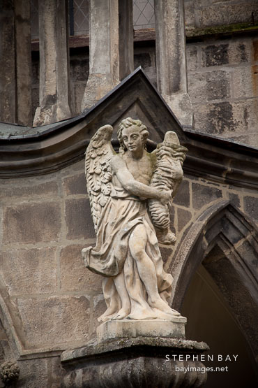 Statue of angel at the Cathedral of the Assumption of the Virgin Mary. Sedlec, Czech Republic.
