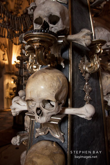 Baroque candelabra made from skulls and bones. Sedlec, Czech Republic.