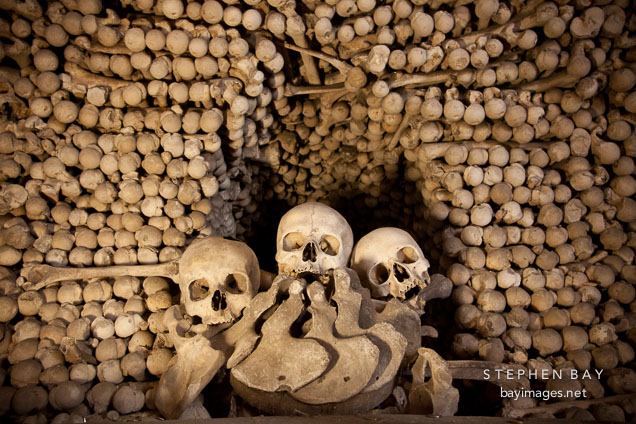 Mound of bones. Sedlec Ossuary, Czech Republic.
