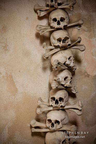 Photo: Stacked skulls and bones. Bone church, Sedlec ...