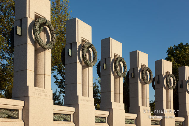 State pillars at the World War II Monument. Washington, D.C.