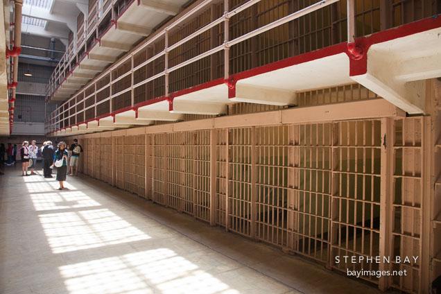 Cell block in Alcatraz prison.