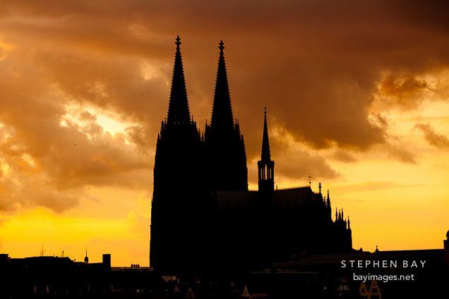 Cologne Cathedral at sunset. Cologne, Germany.