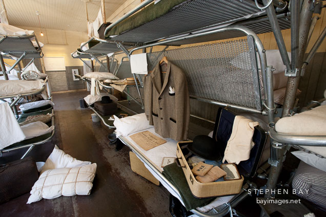 Metal folding bunk beds. US Immigration Station, Angel Island, California.