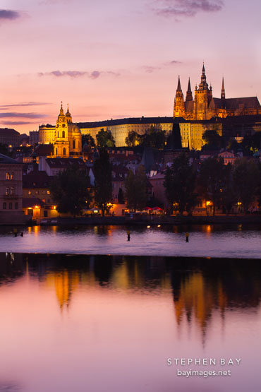 Prague castle at twilight. Prague, Czech Republic.