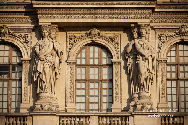 Caryatids on Pavillon Sully. Louvre, Paris, France.