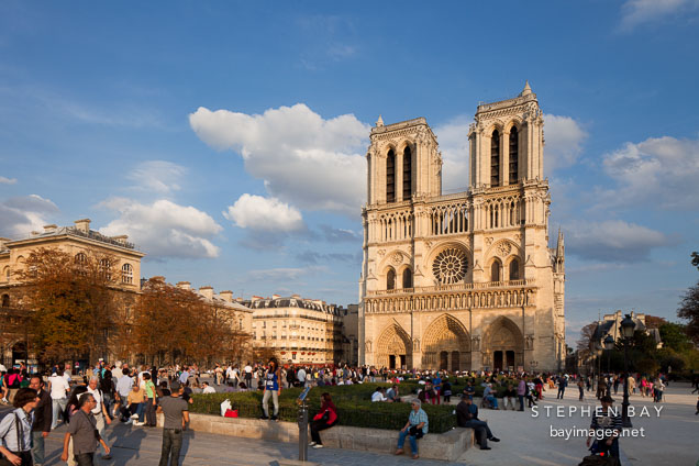 Place du Parvis and Notre Dame Cathedral. Paris, France.