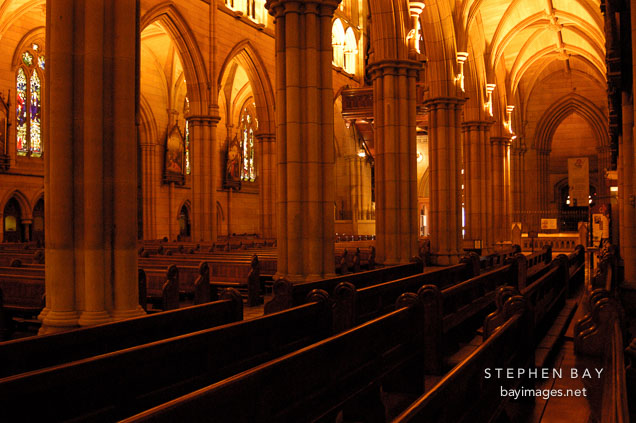 Pews at St. Mary's Cathedral, Sydney, Australia.