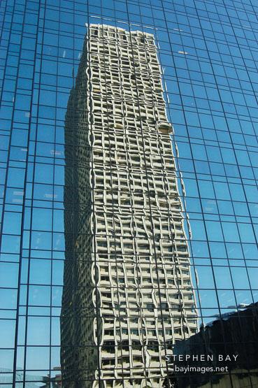 Reflection of a skyscraper. Los Angeles, California, USA.