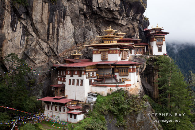 Taktshang Goemba (Tiger's Nest) monastery contains seven temples which can be visited. Paro Valley, Bhutan.