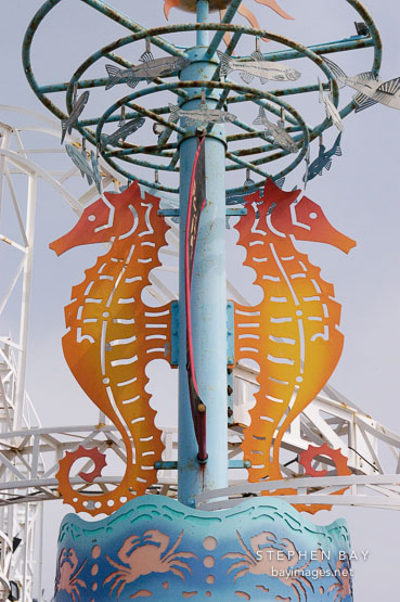 Seahorses at Santa Monica Pier. Santa Monica, California, USA.