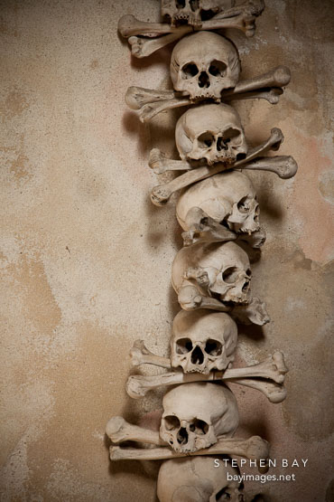 Stacked skulls and bones. Bone church, Sedlec, Czech Republic.