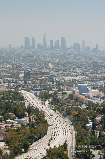 Morning smog and the 101 Freeway. Los Angeles, California, USA.