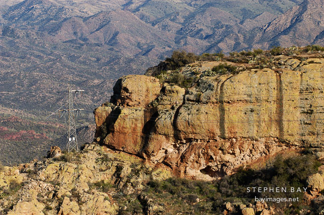 Transmission tower at Fish Creek Hill, Tonto National Forest. Apache Trail, Arizona, USA.