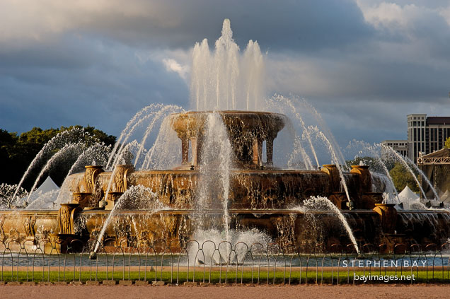 Buckingham Fountain is made from Georgia pink marble. Chicago, Illinois, USA.