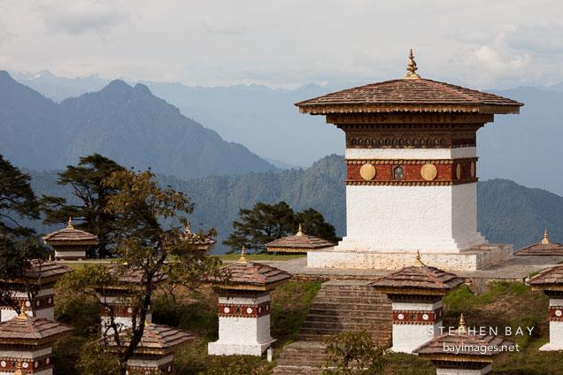 The main chorten of Druk Wangyal Chorten. Dochu La, Bhutan.