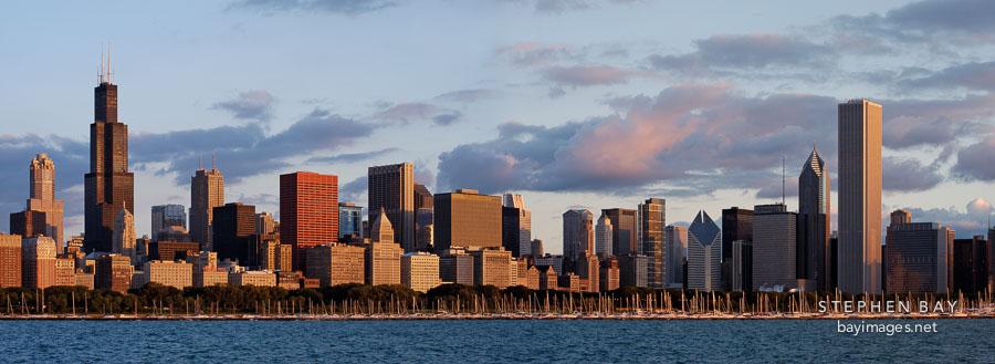 Panoramic view of the Chicago skyline. Chicago, Illinois, USA