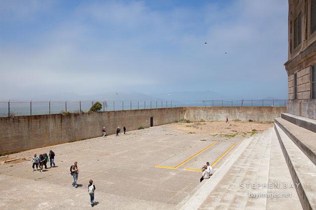 Recreation yard for Alcatraz penitentiary.
