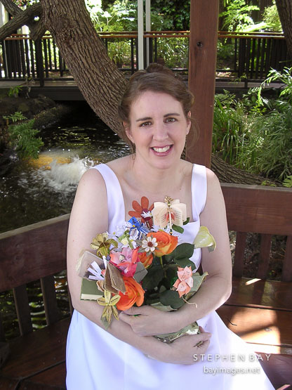 Kara Sjoblom with flower bookquet.