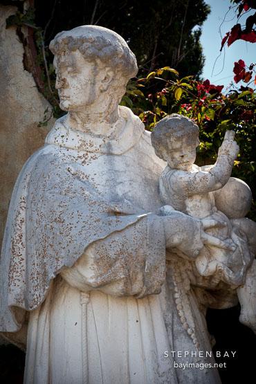 Saint Anthony statue. Carmel Mission, California.